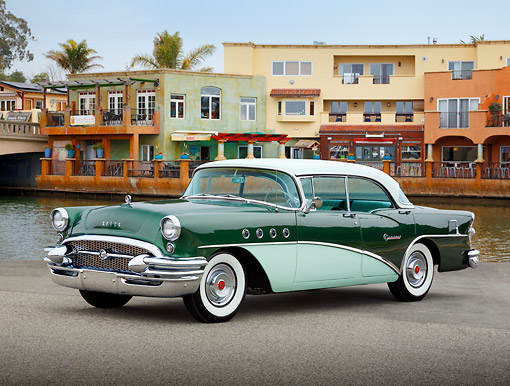 AUT 21 RK3305 01 © Kimball Stock 1956 Buick Century Two-Tone Green 3/4 Front View On Pavement By Canal