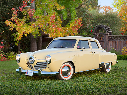 AUT 21 RK3312 01 © Kimball Stock 1951 Studebaker Champion Yellow 3/4 Front View On Grass By Autumn Trees