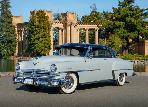 AUT 21 RK3339 01 © Kimball Stock 1953 Chrysler New Yorker Pearl Gray 3/4 Front View On Pavement By Palace Of Fine Arts San Francisco