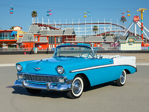 AUT 21 RK3341 01 © Kimball Stock 1956 Chevrolet Bel Air Convertible Turquoise And White 3/4 Front View On Pavement By Carnival