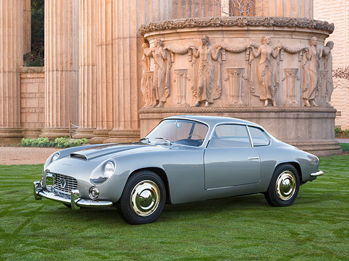 AUT 21 RK3354 01 © Kimball Stock 1959 Lancia Flaminia Zagato Series 1 Gray 3/4 Front View On Grass By Palace Of Fine Arts, San Francisco