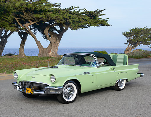AUT 21 RK3357 01 © Kimball Stock 1957 Ford Thunderbird Willow Green 3/4 Front View On Pavement By Trees And Water