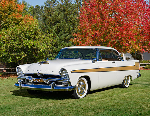 AUT 21 RK3375 01 © Kimball Stock 1956 Plymouth Fury Oyster White 3/4 Front View On Grass By Autumn Trees
