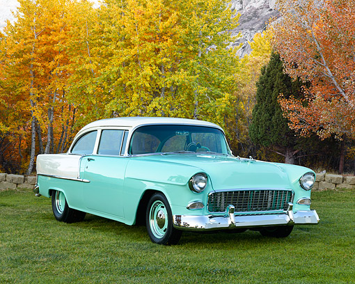 AUT 21 RK3396 01 © Kimball Stock 1955 Chevrolet 210 Green And White 3/4 Front View On Grass By Autumn Trees