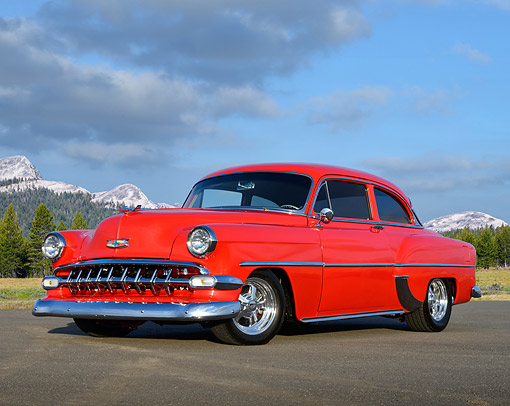 AUT 21 RK3427 01 © Kimball Stock 1954 Chevrolet 210 Red 3/4 Side View On Pavement By Mountains