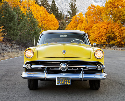 AUT 21 RK3431 01 © Kimball Stock 1954 Ford Victoria Crestline Yellow And White Front View On Pavement By Autumn Trees