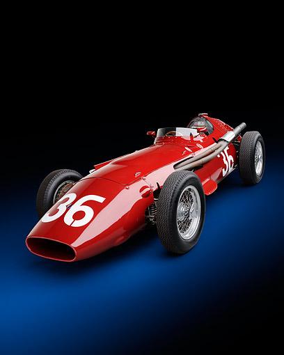 AUT 21 RK3443 01 © Kimball Stock 1956 Maserati 250F Grand Prix Red 3/4 Front View In Studio