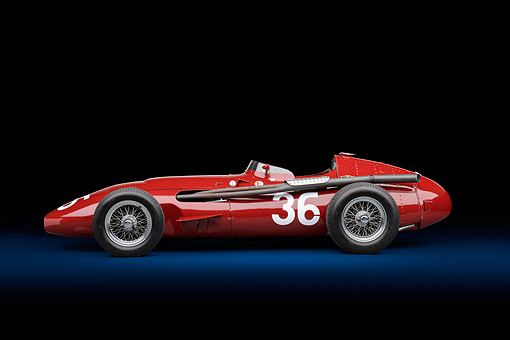 AUT 21 RK3445 01 © Kimball Stock 1956 Maserati 250F Grand Prix Red Profile With Red Background In Studio