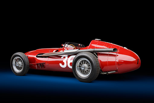 AUT 21 RK3447 01 © Kimball Stock 1956 Maserati 250F Grand Prix Red  Studio