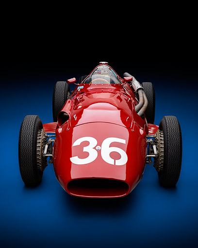 AUT 21 RK3449 01 © Kimball Stock 1956 Maserati 250F Grand Prix Front View In Studio