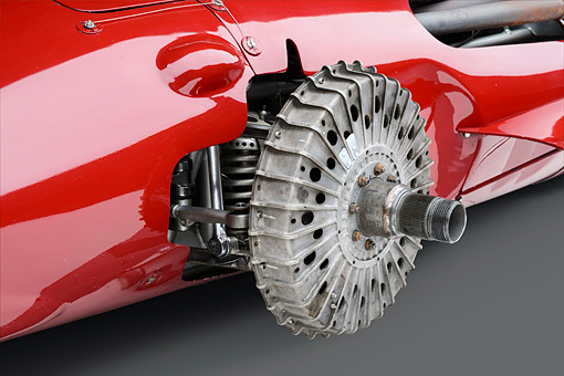 AUT 21 RK3452 01 © Kimball Stock 1956 Maserati 250F Grand Prix Wheel Detail In Studio