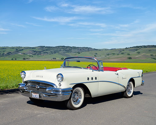 AUT 21 RK3571 01 © Kimball Stock 1955 Buick Roadmaster Convertible White On Pavement