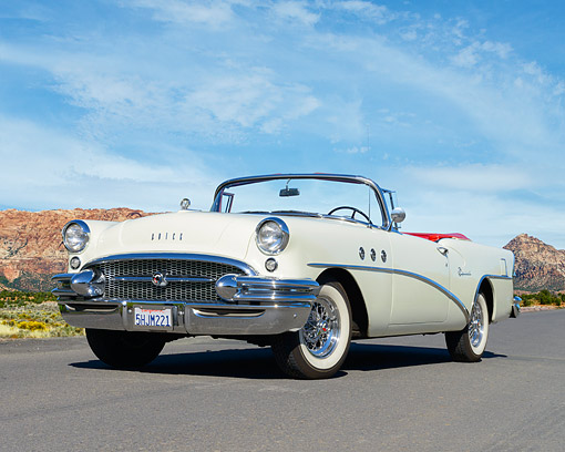 AUT 21 RK3572 01 © Kimball Stock 1955 Buick Roadmaster Convertible White On Pavement