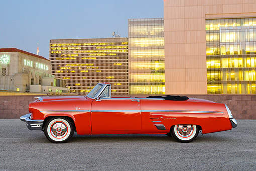 AUT 21 RK3591 01 © Kimball Stock 1953 Mercury Monterey Convertible Red Profile View On Pavement