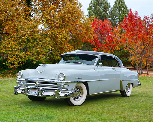 AUT 21 RK3592 01 © Kimball Stock 1953 Chrysler New Yorker Pearl Gray 3/4 Front View In Autumn Scene
