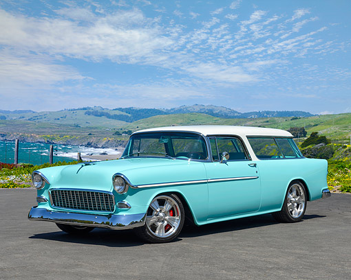 AUT 21 RK3594 01 © Kimball Stock 1955 Chevrolet Nomad Tiffany Blue 3/4 Front By Scenics Ocean View