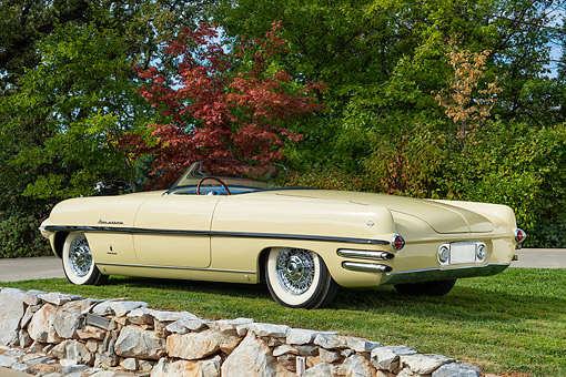 AUT 21 RK3617 01 © Kimball Stock 1954 Dodge Firearrow Beige 3/4 Rear View On Grass By Tree