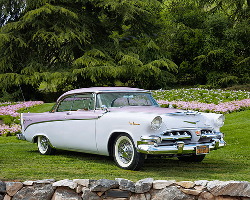 AUT 21 RK3620 01 © Kimball Stock 1956 Dodge La Femme Lavender 3/4 Front On Grass In Front Of Trees And Flowers