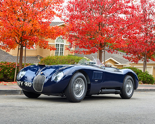 AUT 21 RK3635 01 © Kimball Stock 1959 Jaguar C-Type Replica Blue 3/4 Front View By House
