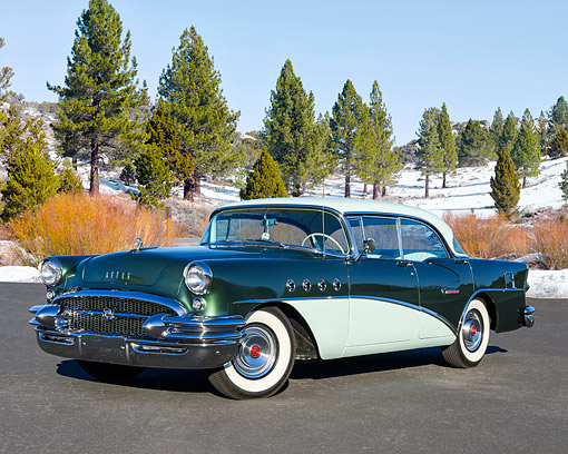 AUT 21 RK3653 01 © Kimball Stock 1955 Buick Century Green 3/4 Front View By Snow