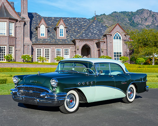 AUT 21 RK3654 01 © Kimball Stock 1955 Buick Century Green 3/4 Front View By Mansion
