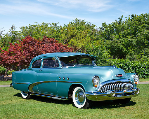 AUT 21 RK3660 01 © Kimball Stock 1953 Buick 48D Special Deluxe Blue 3/4 Front View On Grass By Trees