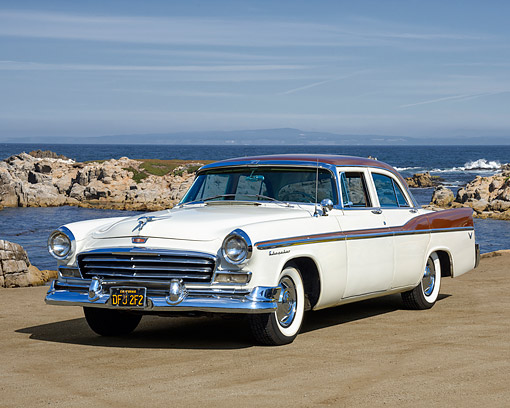 AUT 21 RK3686 01 © Kimball Stock 1955 Chrysler Windsor Sedan White 3/4 Front View By Ocean