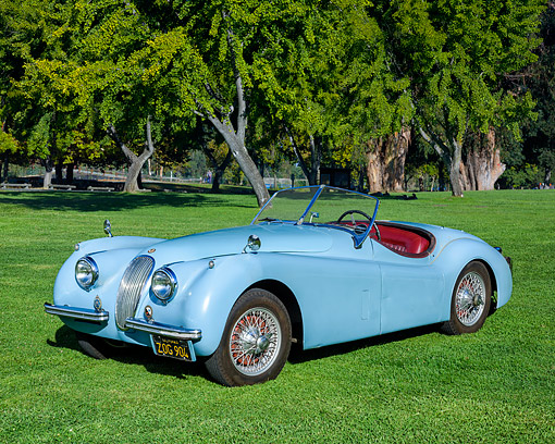 AUT 21 RK3691 01 © Kimball Stock 1954 Jaguar 120 M Blue 3/4 Front View By Trees