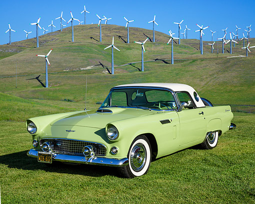 AUT 21 RK3693 01 © Kimball Stock 1956 Ford Thunderbird Sage 3/4 Front View By Windmills