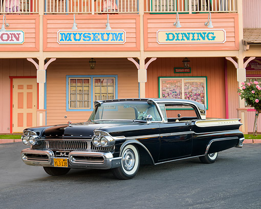 AUT 21 RK3700 01 © Kimball Stock 1958 Mercury Turnpike Cruiser Black 3/4 Front View By Buildings