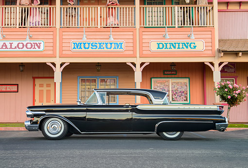 AUT 21 RK3701 01 © Kimball Stock 1958 Mercury Turnpike Cruiser Black Profile View By Buildings