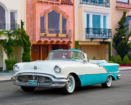 AUT 21 RK3707 01 © Kimball Stock 1956 Oldsmobile 88 Coupe Convertible 3/4 Front View By Buildings