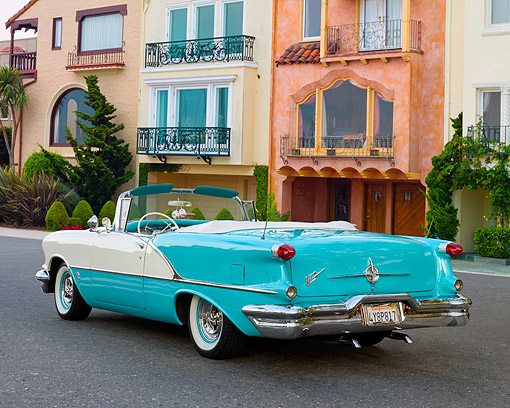 AUT 21 RK3708 01 © Kimball Stock 1956 Oldsmobile 88 Coupe Convertible 3/4 Rear View By Buildings