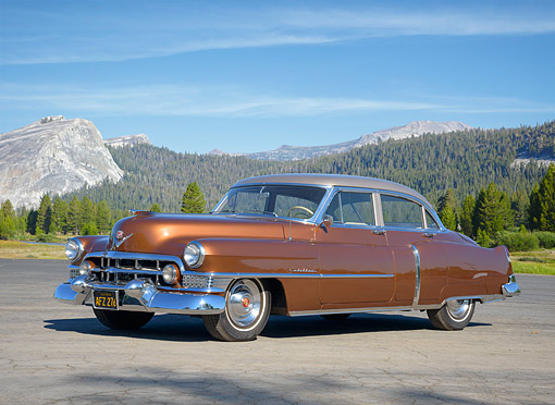 AUT 21 RK3745 01 © Kimball Stock 1951 Cadillac Series 62 Four Door Brown 3/4 Front View By Majestic Forest