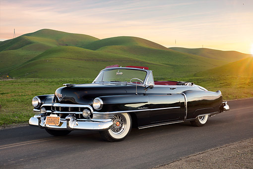 AUT 21 RK3753 01 © Kimball Stock 1950 Cadillac Series 62 Convertible Black 3/4 Front View By Hills