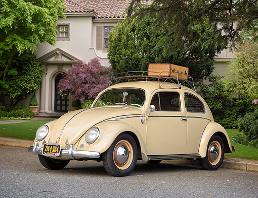 AUT 21 RK3771 01 © Kimball Stock 1954 Volkswagen Bug Tan 3/4 Front View By Mansion