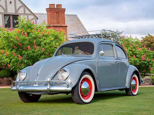 AUT 21 RK3772 01 © Kimball Stock 1957 Volkswagen Beetle Gray 3/4 Front View On Grass Hy House