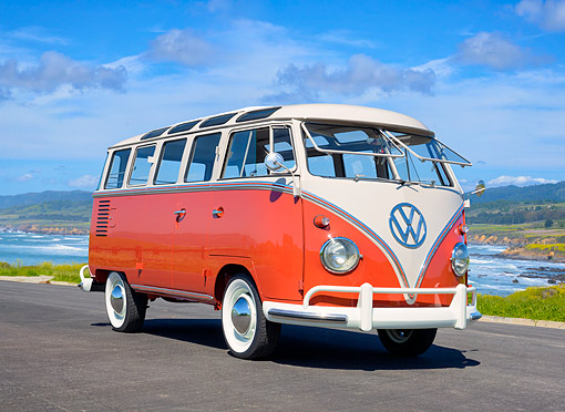 AUT 21 RK3773 01 © Kimball Stock 1959 Volkswagen 23-Window Deluxe Micro Bus Orange 3/4 Front View By Ocean