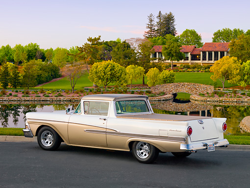 AUT 21 BK0014 01 © Kimball Stock 1958 Ford Ranchero White And Bronze 3/4 Rear View On Pavement By Pond