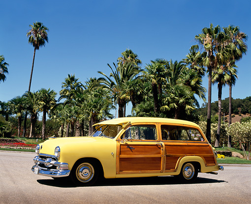 AUT 21 RK0072 07 © Kimball Stock 1951 Ford Country Squire Woody Wagon Yellow On Pavement By Palm Trees