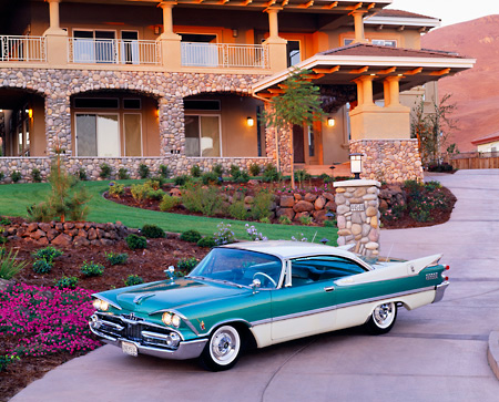 AUT 21 RK0104 05 © Kimball Stock 1959 Green & White Dodge Custom Royal Lancer 3/4 Side Overhead Headlights On By House