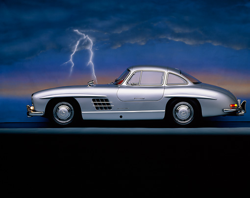 AUT 21 RK0119 02 © Kimball Stock 1956 Mercedes-Benz 300SL Gullwing Silver Profile On Gray Line Lightning Background Studio