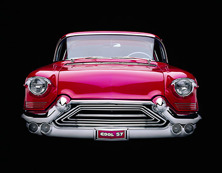 AUT 21 RK0141 02 © Kimball Stock 1957 Candy Raspberry Cadillac Eldorado Kustom Head On Shot