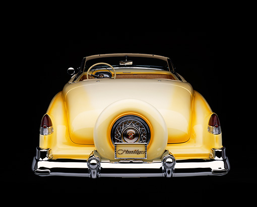 AUT 21 RK0156 01 © Kimball Stock 1953 Cadillac Eldorado Convertible Yellow Rear View Studio