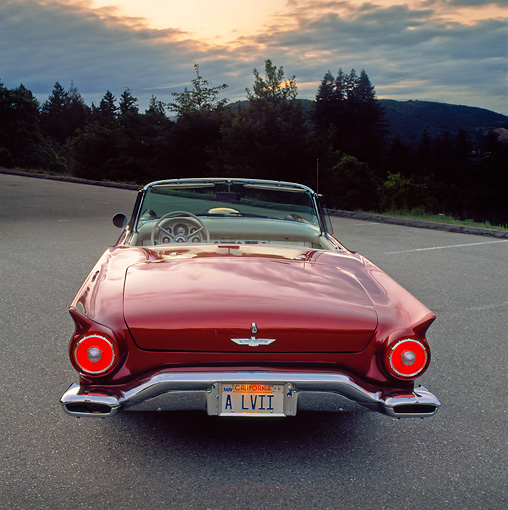 AUT 21 RK0443 01 © Kimball Stock 1957 Cinnamon Ford T-Bird Convertible Rear View On Pavement Lights On By Trees Gray Skies At Dusk