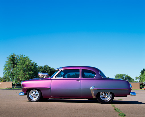 AUT 21 RK0456 03 © Kimball Stock 1954 Plymouth Savoy Custom Purple Profile View On Pavement