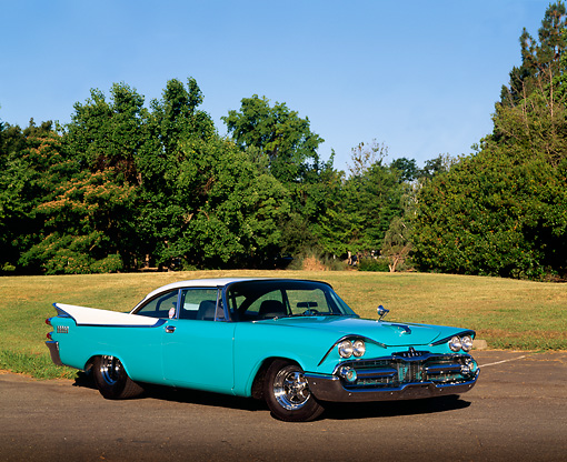 AUT 21 RK0460 09 © Kimball Stock 1959 Dodge Coronet Turquoise 3/4 Front View On Pavement By Grass And Trees Blue Sky