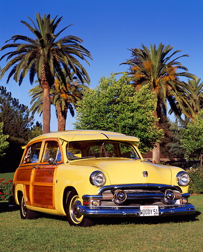 AUT 21 RK0478 01 © Kimball Stock 1951 Ford Woody Yellow 3/4 Front View On Grass By Trees