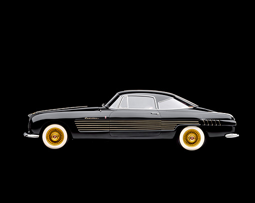 AUT 21 RK0504 04 © Kimball Stock 1953 Black Cadillac Ghia Coupe, profile in studio on black