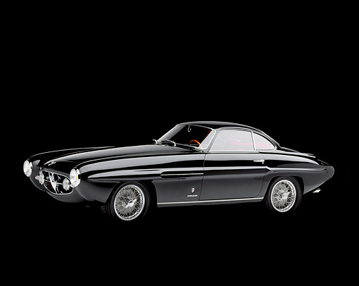 AUT 21 RK0505 04 © Kimball Stock 1953 Fiat Ghia 8V Supersonic Coupe 3/4 Front View Studio